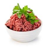 Bol de viande hachée crue Photographie stock