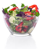 Bol de vidrio con las verduras para una ensalada Fotografía de archivo libre de regalías