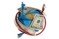 Bol die met draden en dollars wordt gerold Stock Afbeelding