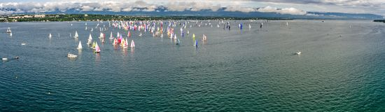 The Bol dOr Mirabaud is the most important inland lake regatta in the world. Started in 1939, it welcomes mono-hulls and multihulls each year on Lake Geneva stock image