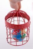 Bol in een birdcage wordt opgesloten die Royalty-vrije Stock Foto