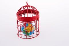 Bol in een birdcage wordt opgesloten die Stock Fotografie