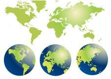 Bol en Kaart van de Wereld Stock Foto