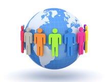 Bol en mensen Aarde en wereldkaart Stock Foto