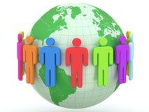 Bol en mensen Aarde en wereldkaart Stock Afbeelding