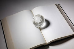 Bol en open boek royalty-vrije stock fotografie