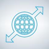 Bol en pijlenpictogram, abstract teken vlak ontwerp, illustratie modern geïsoleerd kenteken voor website of app, infographics Stock Foto's