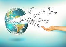 Bol en symbolen van de school Onderwijs concept Illustratie 3d van onderwijsconcept Formules, tekeningen en Royalty-vrije Stock Foto