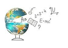 Bol en symbolen van de school Onderwijs concept Illustratie 3d van onderwijsschoolconcept Elementen van dit Royalty-vrije Stock Afbeelding