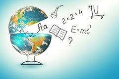 Bol en symbolen van de school Onderwijs concept Illustratie 3d van onderwijsschoolconcept Elementen van dit Stock Foto's