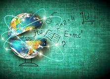Bol en symbolen van de school Onderwijs concept Illustratie 3d van onderwijsschoolconcept Elementen van dit Stock Foto