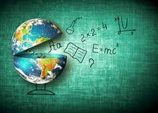 Bol en symbolen van de school Onderwijs concept Illustratie 3d van onderwijsschoolconcept Elementen van dit Stock Afbeelding