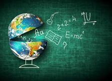 Bol en symbolen van de school Onderwijs concept Illustratie 3d van onderwijsschoolconcept Elementen van dit Stock Fotografie