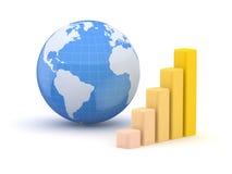 Bol en zaken. Aarde en wereldkaart. 3d Royalty-vrije Stock Afbeeldingen