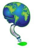 Bol in hersenen die op groen verlof schrijft Stock Afbeeldingen