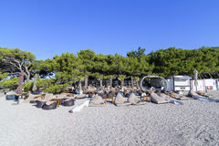 Bol, island of Brac, Croatia - July 18, 2016: Aurum club at Zlatni rat beach Royalty Free Stock Photos