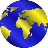 Bol met gouden continenten Royalty-vrije Stock Foto's