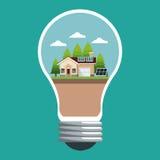 Bol met slim huis ecologisch paneel zonne royalty-vrije illustratie