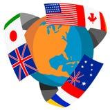 Bol met vlaggen van de wereld Royalty-vrije Stock Foto's