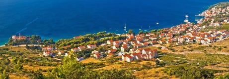 Bol na opinião aérea panorâmico da ilha de Brac, Dalmácia, Croácia Foto de Stock