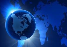 Bol op de Achtergrond van de Verduistering met de Kaart van de Wereld Royalty-vrije Stock Afbeeldingen