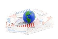 Bol op financiële grafieken stock fotografie