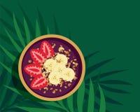 Bol tropical de Smoothie d'Acai Image libre de droits
