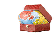 Bol van de wereld in de doos (inbegrepen weg) Royalty-vrije Stock Fotografie