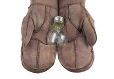 Bol in vrouwenhand, Realistisch fotobeeld Zet wolfram gloeilamp met hand aan stock afbeeldingen
