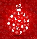 Bola abstracta hecha en elementos de la Navidad, textura de los copos de nieve Imagenes de archivo