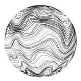 Bola abstrata da onda sônico Fundo ondulado do caos do movimento Ilustração do vetor ilustração royalty free