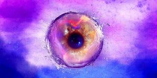 Bola abstrata do olho da galáxia espirrada com água ilustração do vetor