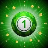 Bola afortunada del bingo del trébol de cuatro hojas Fotografía de archivo