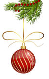Bola aislada de la Navidad del brillo Foto de archivo libre de regalías