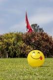 Bola amarilla sonriente imagenes de archivo