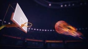 Bola ardiente del baloncesto que apunta anotar Imagen de archivo libre de regalías