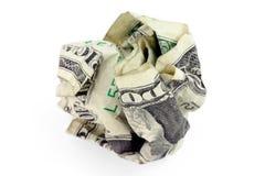 Bola arrugada del dólar de los E.E.U.U. Fotos de archivo