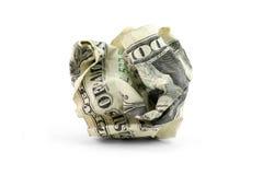 Bola arrugada del dólar de los E.E.U.U. Foto de archivo libre de regalías