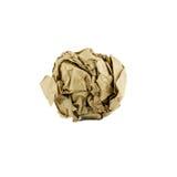 Bola arrugada del papel marrón aislada fotografía de archivo libre de regalías