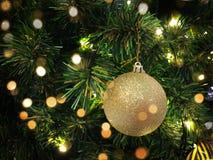 Bola ascendente próxima do Natal que pendura na árvore com conceito morno do bokeh dourado imagem de stock royalty free