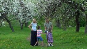 Bola ativa da captura da família na natureza Os povos jogam com a bola no jardim Movimento lento vídeos de arquivo
