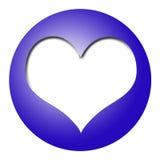 Bola azul con el corazón blanco Imágenes de archivo libres de regalías