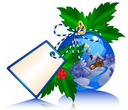 Bola azul de la Navidad con la etiqueta engomada de la etiqueta. Imagen de archivo