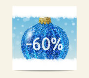 Bola azul de la Navidad del brillo para la venta de la Navidad Fotos de archivo
