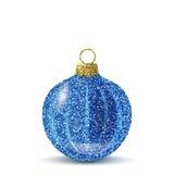 Bola azul de la Navidad del vector con textura del brillo Foto de archivo libre de regalías