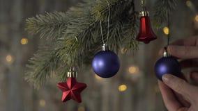 Bola azul de la Navidad dos y ramas spruce almacen de video