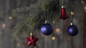 Bola azul de la Navidad dos y ramas spruce almacen de metraje de vídeo