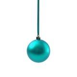 Bola azul do Natal isolada no ano novo do fundo branco Fotografia de Stock