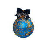Bola azul do Natal isolada no ano novo do fundo branco Imagens de Stock Royalty Free
