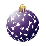 Bola azul do Natal, isolado, isolada no fundo branco O ano do cão 2018 Vetor ilustração royalty free